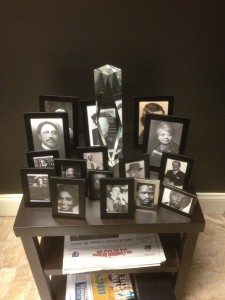 Memorial photos of black lawyers at Davis Bozeman Law Firm