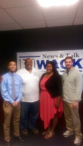 Too Much Truth host Derrick Boazman with CCJI student interns Alphonse Williams, Larrissa Moore and Brent Lightfoot
